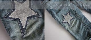 Hose geflickt mit Applikation aus Stoffresten / Fabric waste as appliqué