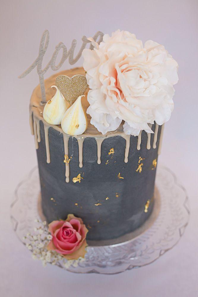 Artisana Bespoke Cakes Tall Drippy Grey Cake With Pale