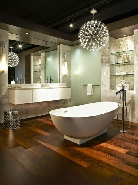 LED ceiling lighting ideas: elegant bathroom with LED lighting ...