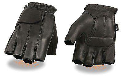 Xelement Leather Deerskin Fingerless Motorcycle Gloves  XG-850