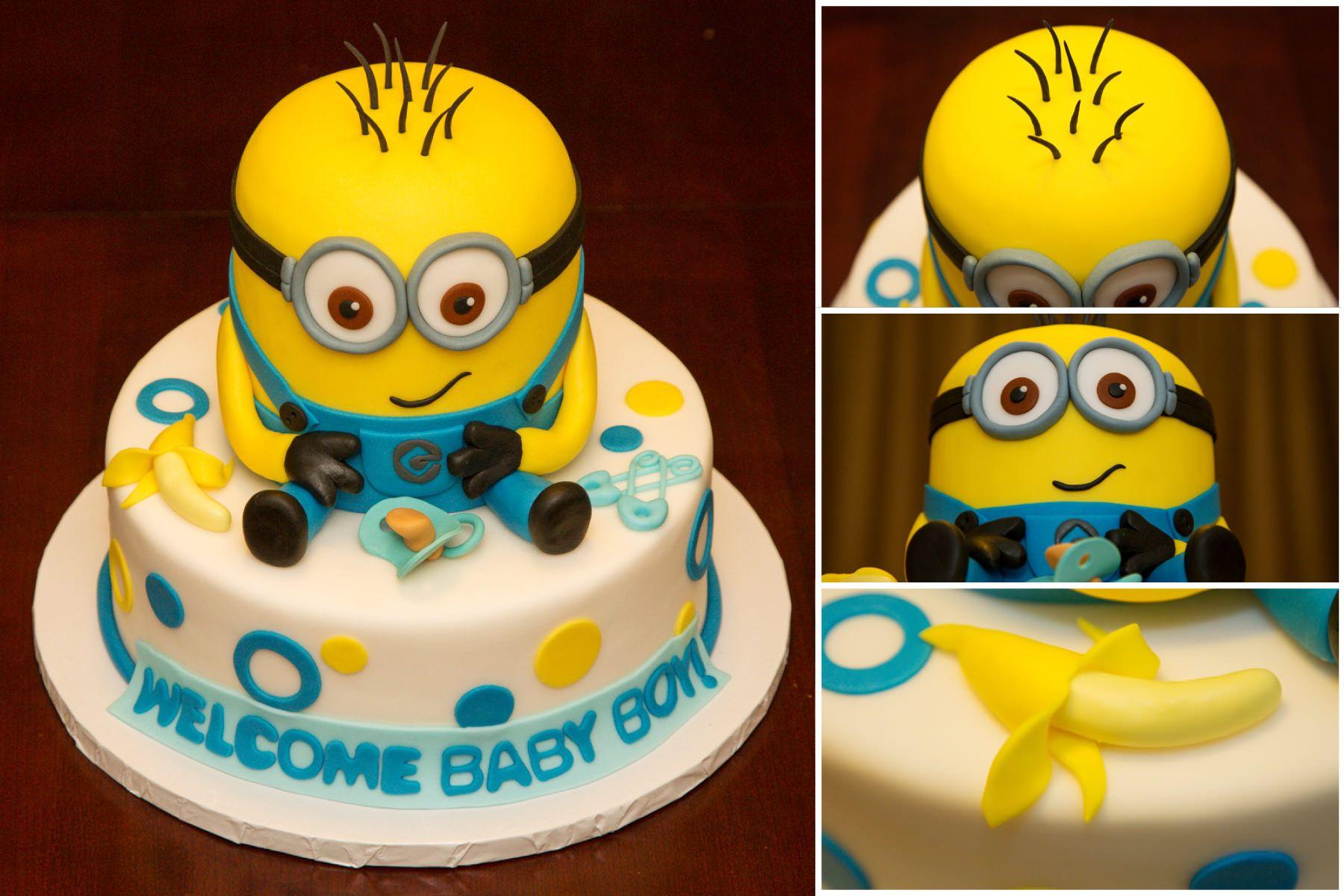 Fabulous Baby Shower Minion Cake Minion Baby Shower Minion Baby Baby Personalised Birthday Cards Veneteletsinfo