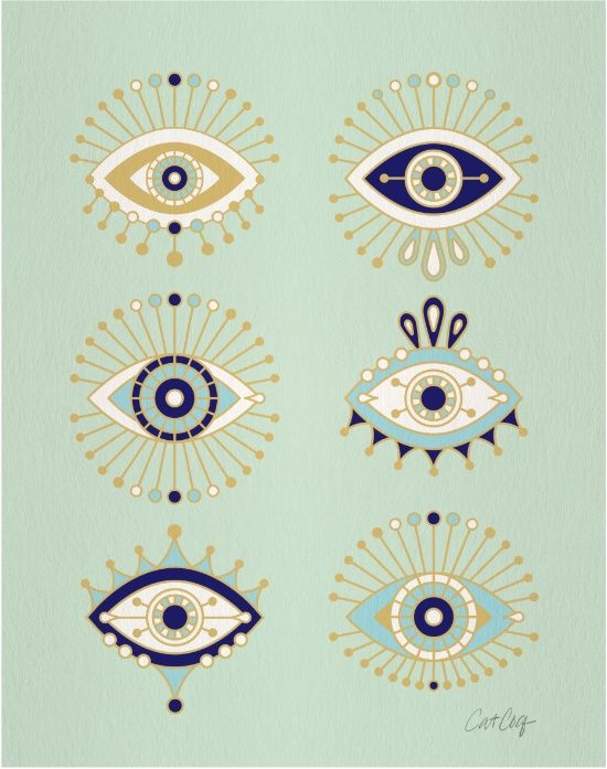 Evil Eye Collection Art Print Art Prints Pinterest Art