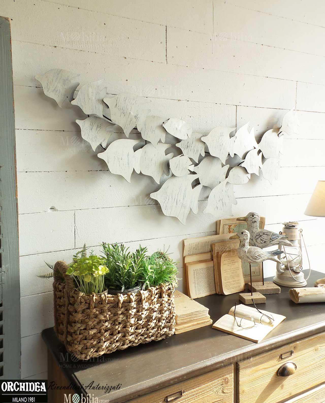 Pannelli per pareti con pesci realizzata in metallo for Lettere in metallo per arredare