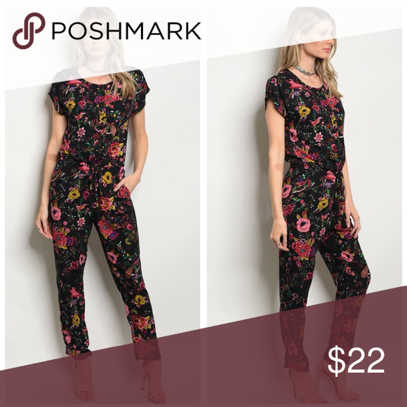 7078917db2d Just In! Black Pink Floral Jumpsuit New New 100% Polyester Pants Jumpsuits    Rompers