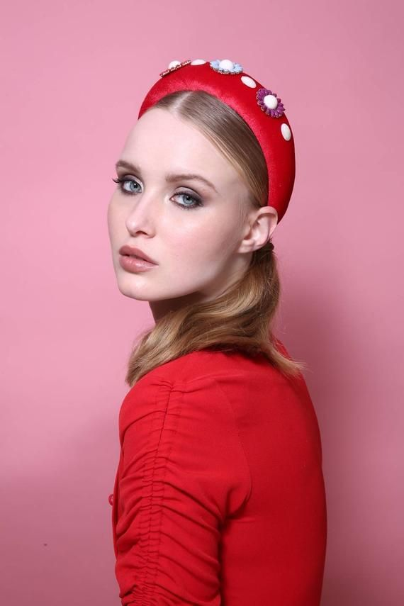 Red fancy headband, Crown headband, padded Velvet headband, kate middleton style, ladies day, adult headband, summer wedding, puffy headband #crownheadband