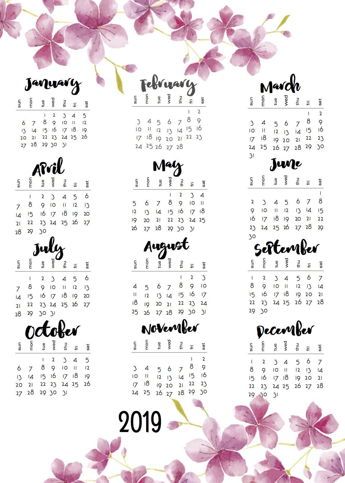 2019 Calendars | 2019 calendar, Calendar, Calendar journal