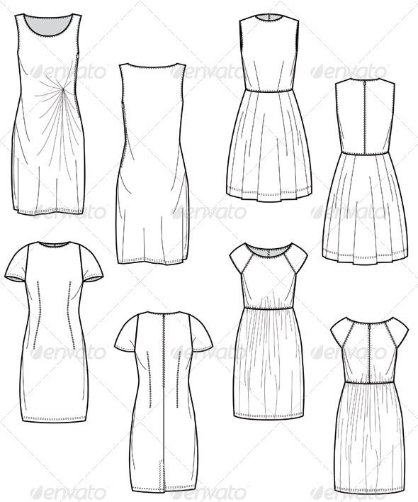Fashionable Dresses Flat Sketch