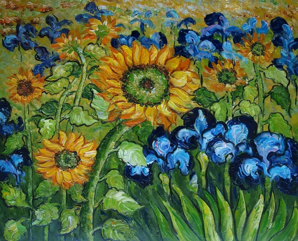 Vincent Van Gogh - Sunflowers and Irises