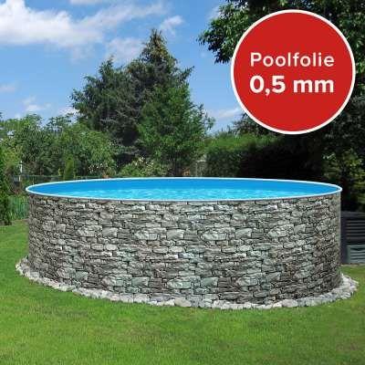 Einzelbecken Rundpool POOLSANA STONE 3,60 x 1,20 m Folie 0,5 mm