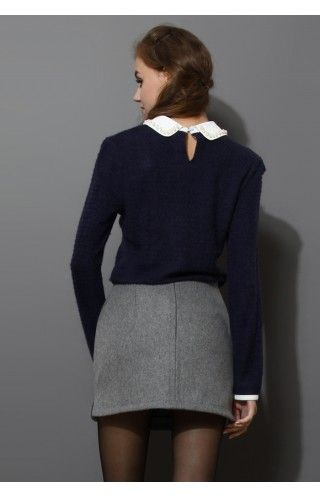 19df197f89f92 Pearly Peter Pan Collar Top in Navy Blue - Retro