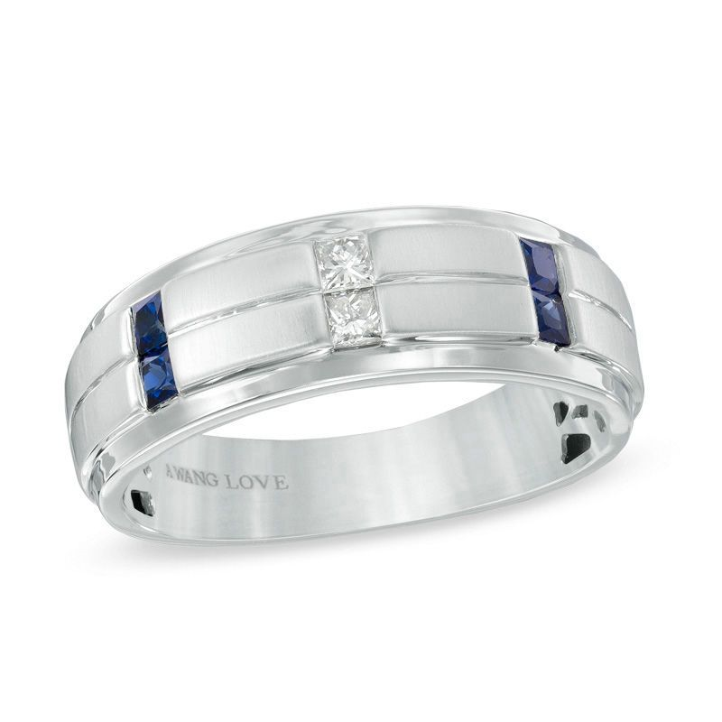 Vera Wang Love Collection Men S 1 8 Ct T W Diamond And Blue Sapphire Wedding Band In 14k White Gold Zales Sapphire Wedding Band Blue Sapphire Wedding Band Diamond Wedding Bands