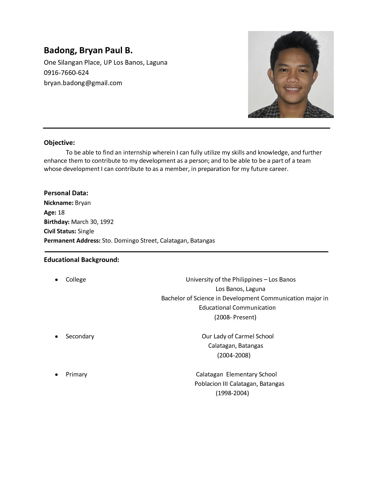 example of format of resumes