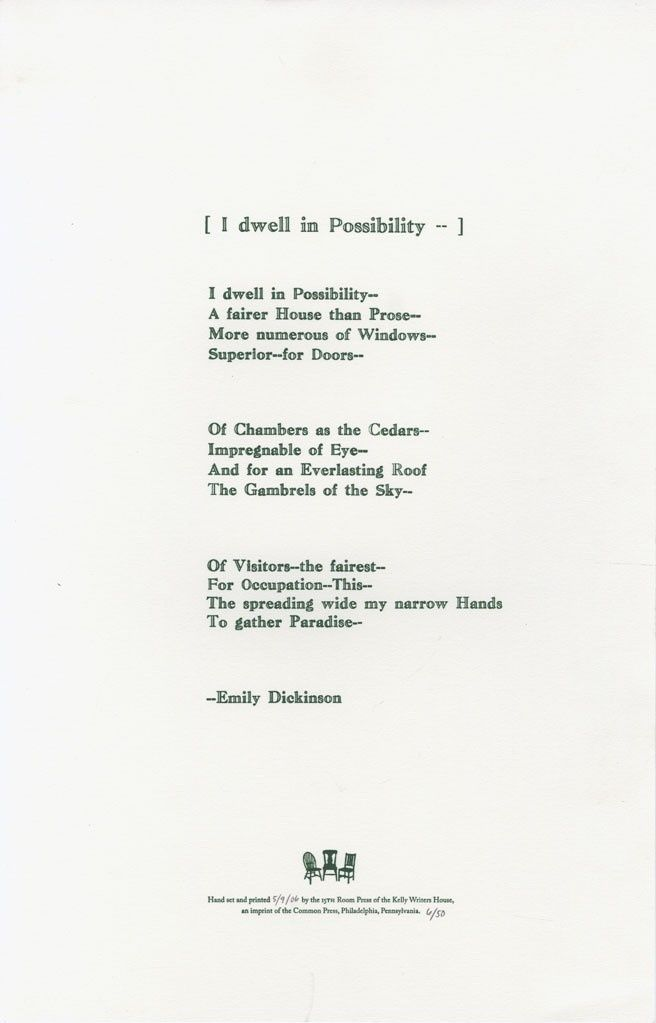 I dwell in Possibility - (466) by Emily Dickinson | Poetry