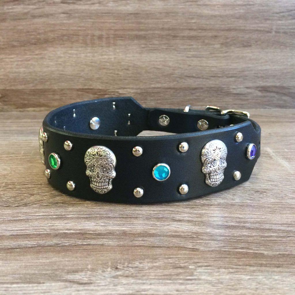 Sugar Skull Paco Collars Custom Leather Dog Collars in