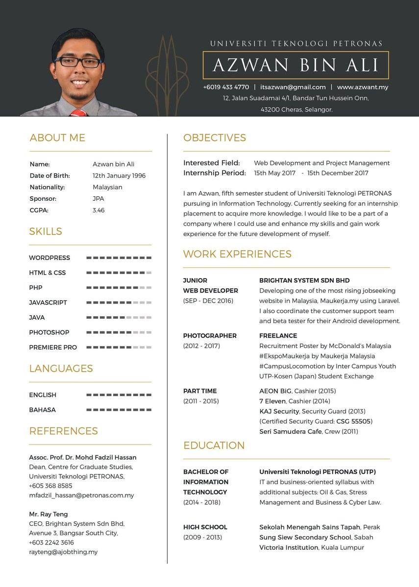 Contoh Resume Lengkap Resume design template free