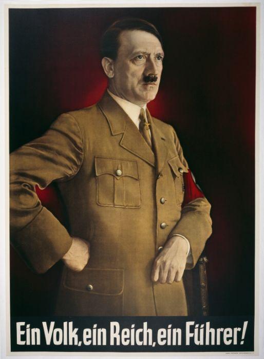 "Hitler Abolishes the Office of President. Poster of Hitler standing with the caption ""Ein Volk, ein Reich, ein Führer!"" (One People, one Empire, one Leader)."