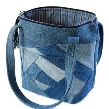 Denim Jean Crazy Quilt Purse, Upcycled Recycled Jean Bag, Blue ... : fabric quilted handbags - Adamdwight.com