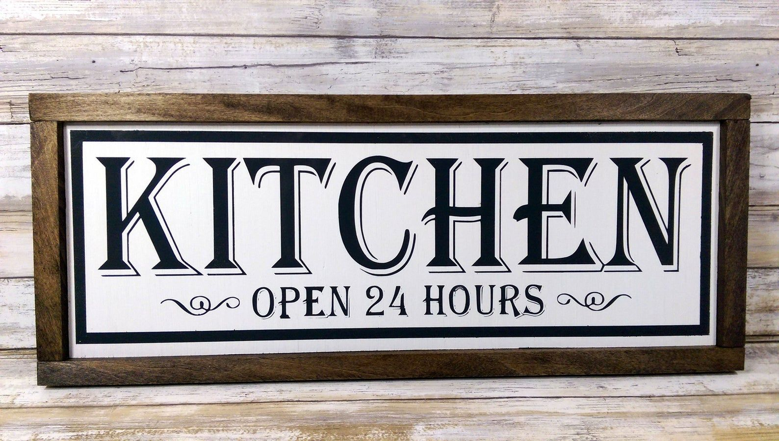 "Farmhouse Kitchen Sign ""Open 24 Hours"" Rustic Wood Framed"