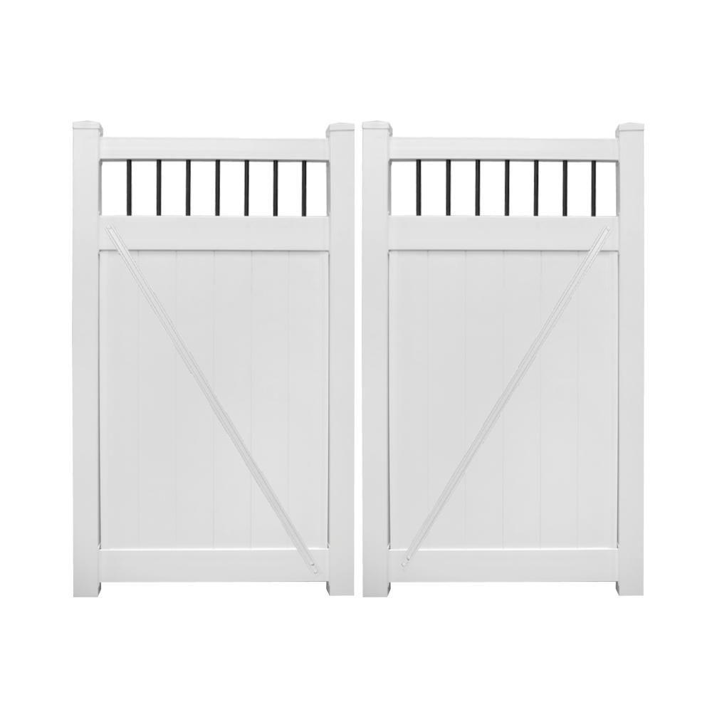 Weatherables Bradford 7 4 Ft W X 7 Ft H White Vinyl Privacy Fence Double Gate Kit Dwpr Ctrnd 7x44 5 Vinyl Privacy Fence Double Gate Privacy Fence Panels