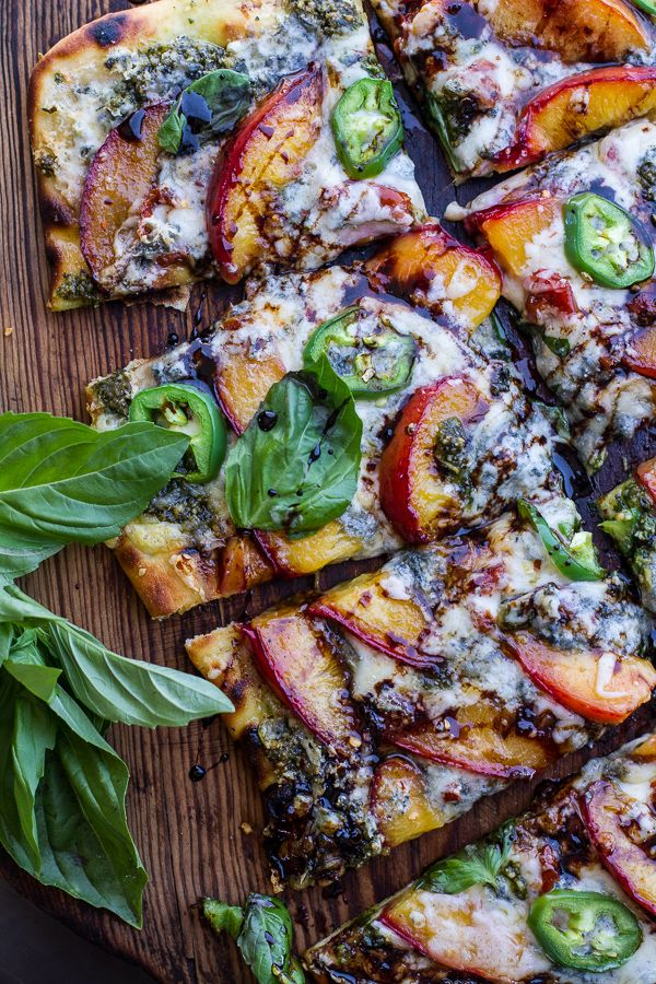 Toasted Walnut Pesto and Caramelized Nectarine and Gorgonzola Pizza w/Spicy Balsamic Drizzle | halfbakedharvest.com