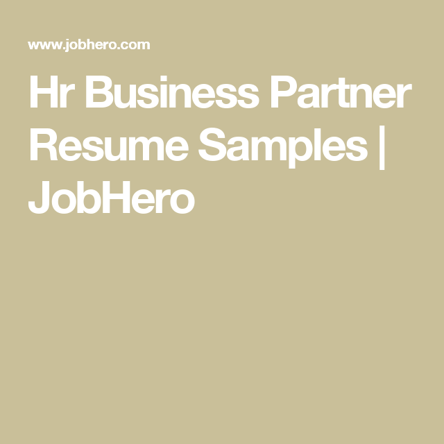 Hr Business Partner Resume Samples | JobHero