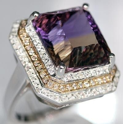 SOLID 14K & 925SS 14.29 cts GENUINE AMETRINE & WHITE SAPPHIRE RING  GORGEOUS HANDMADE SOLID 14KGOLD & 925SS 3 PIECE CASTING