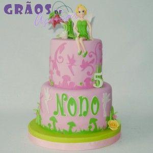 Sininho - Cor de Rosa | Recortado | bolo 5 anos | Grãos de Açúcar - Bolos decorados - Cake Design