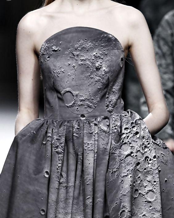 Moon Crater Print Dress - high impact, photographic printed fashion; textural surfaces // Ana Locking Fall 2014