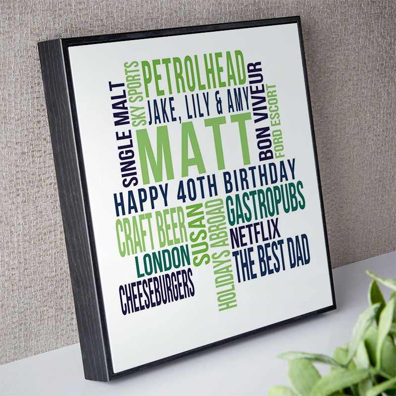 Personalised 40th Birthday Gift For Him Of Text Art