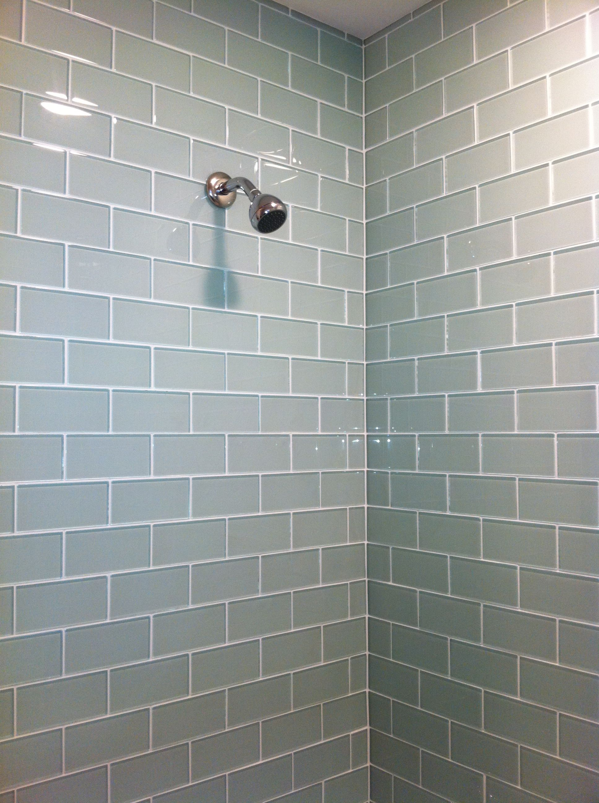 Decoration Interior Fashionable Grey Gl Subway Tiles With Wall Mount Chrome Head Shower Under Chic Design Bathroom
