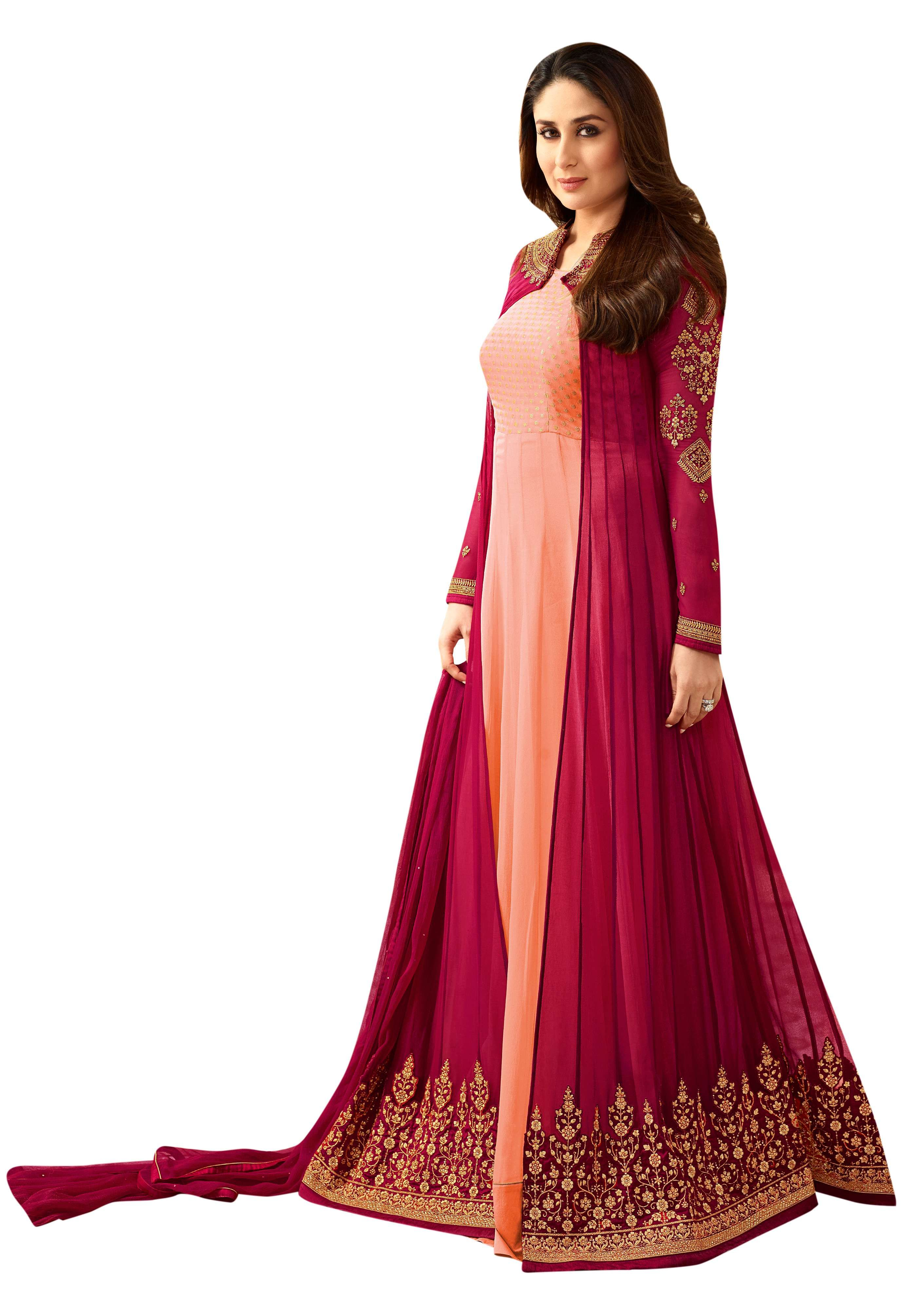 db7892f879 Pink Georgette Embroidered Jacket Style Anarkali Suit | Anarkali ...