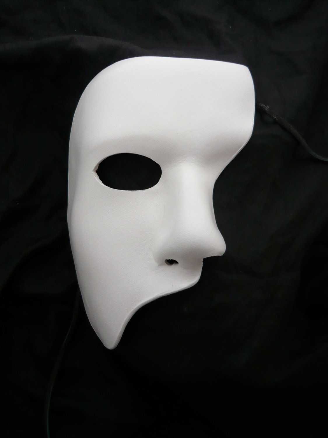 Shaun -Phantom of the Opera Leather Mask White Pearl Mask Stage ...