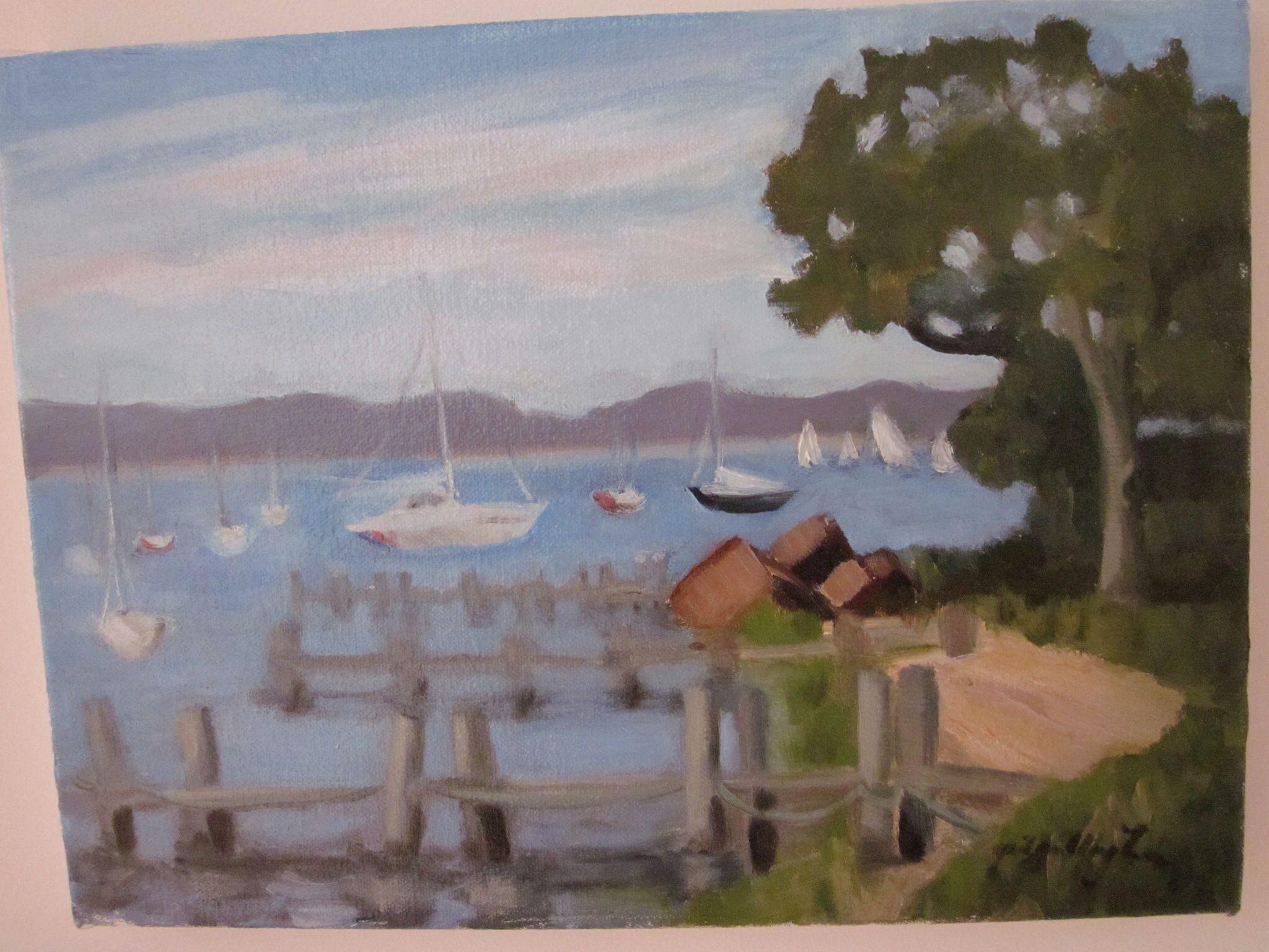 Dering harbor shelter island shelter island art painting
