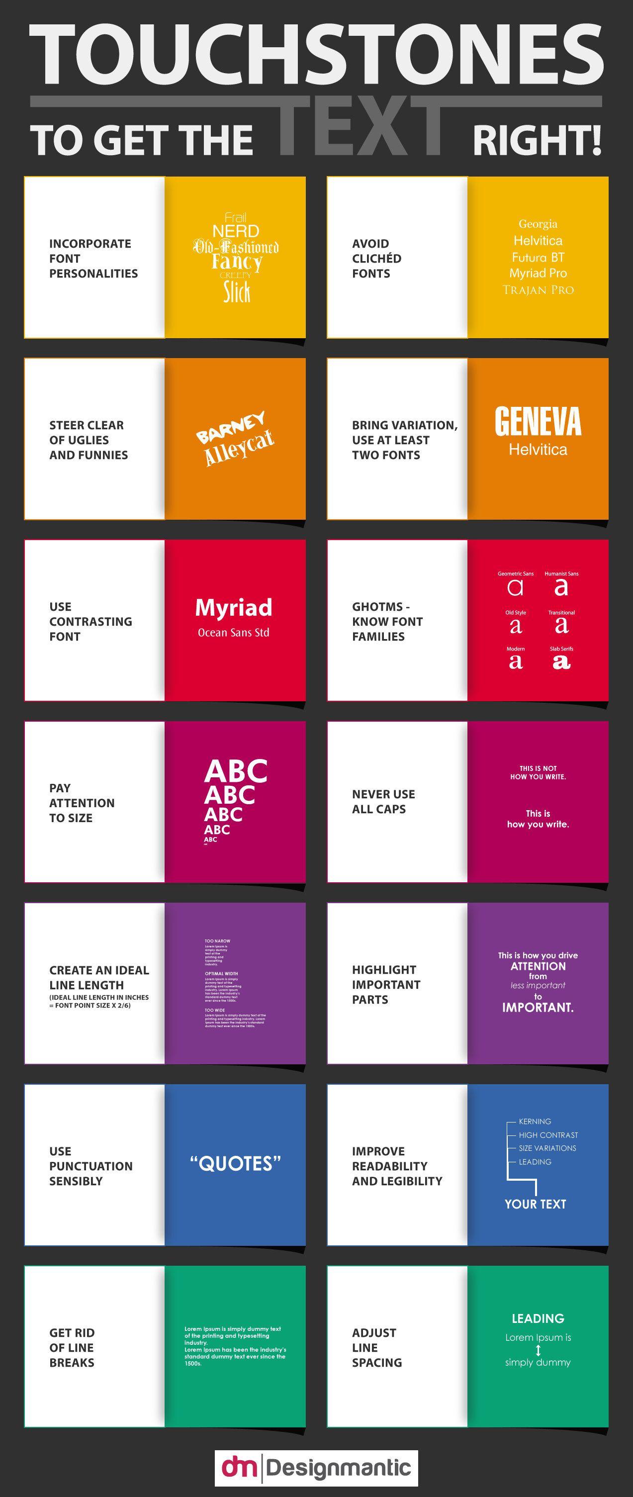 Infographic 14 Principles Of Using Text In Design Designtaxi Com Progettazione Del Layout Infografica Font Moderni