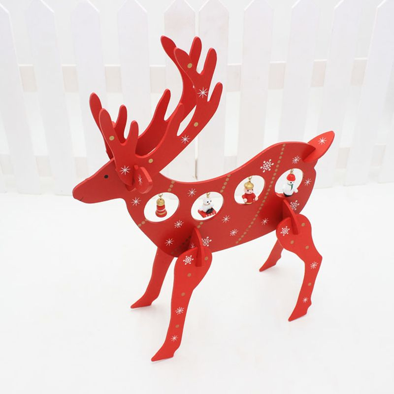 30x36cm Christmas Decorations DIY Red Reindeer Wooden Deer