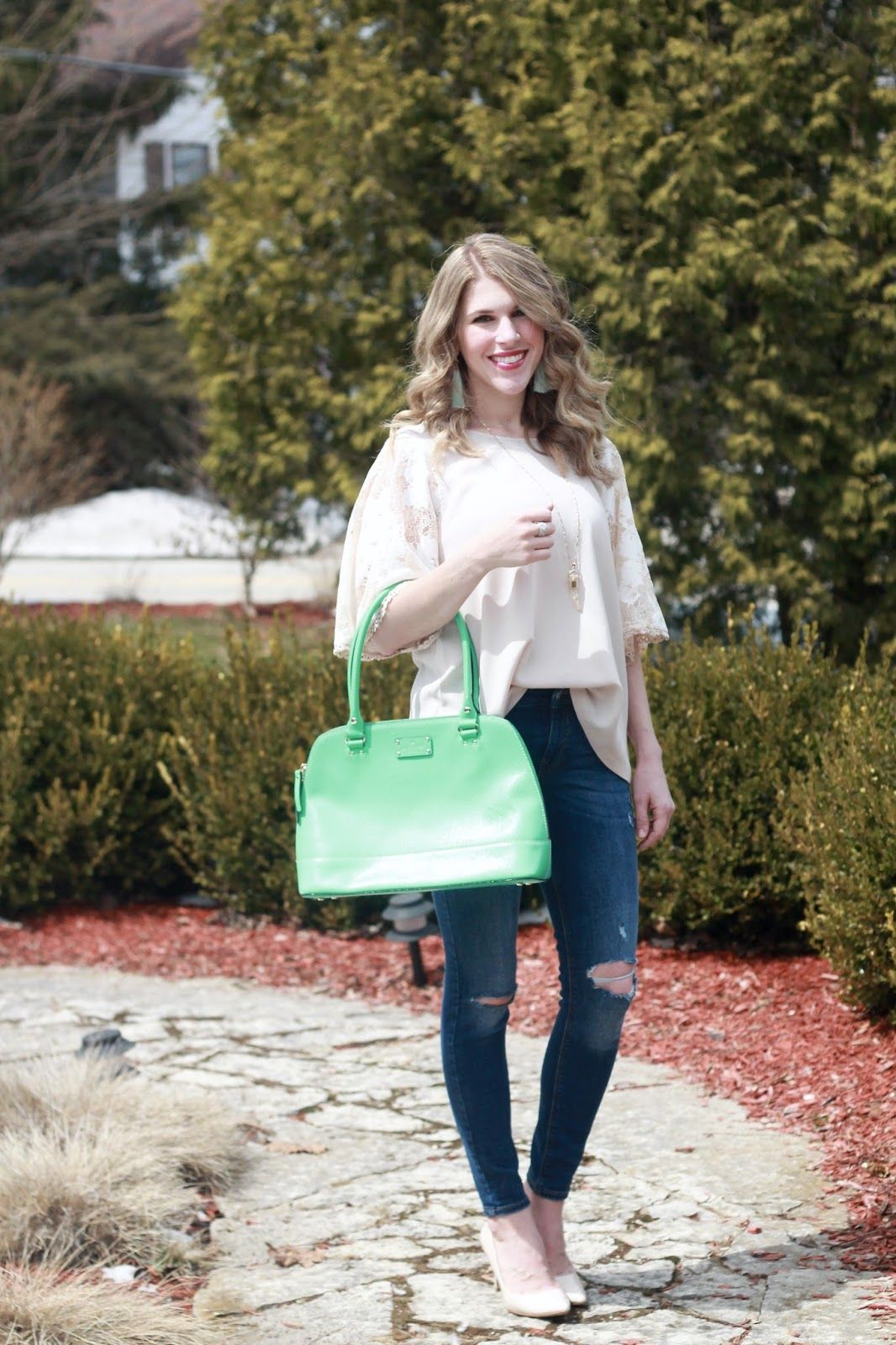 c7e7ce8b2d PinkBlush taupe lace sleeve blouse, distressed jeans, nude heels, green  Kate Spade bag, mint tassel earrings