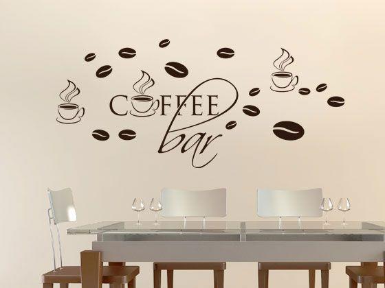 Wandtattoo Küche Set Coffee Bar Kaffeebohnen Tassen