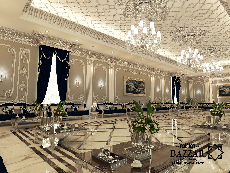 مجلس رجال نيوكلاسيك فخم باللون الفضي والكنب الاسود تم استخدام نجف كرستال ذو اضاءه ع Luxury Living Room Design Living Room Design Decor Home Design Living Room
