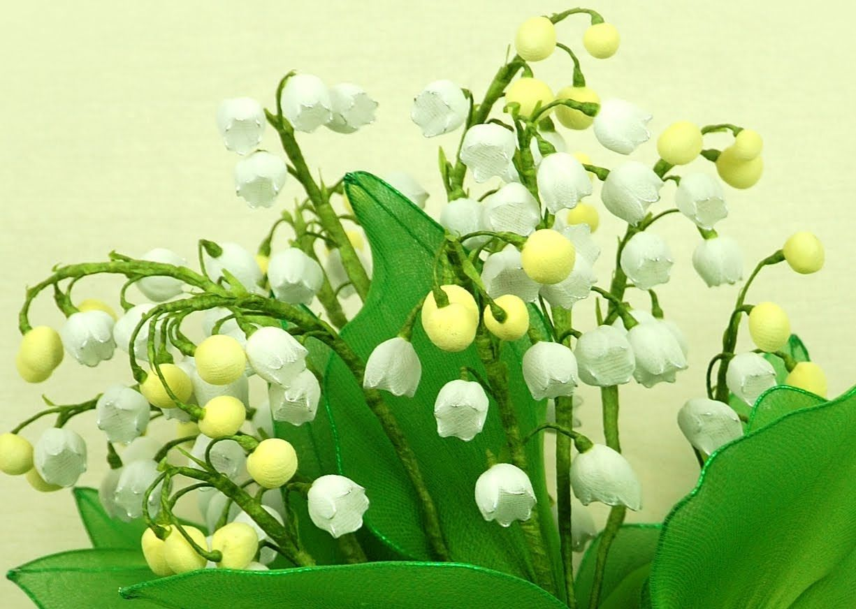 FREE VIDEO TUTORIAL ~ DIY Instruction Handmade Lily of the Valley Wedding Bouquet with Nylon S...