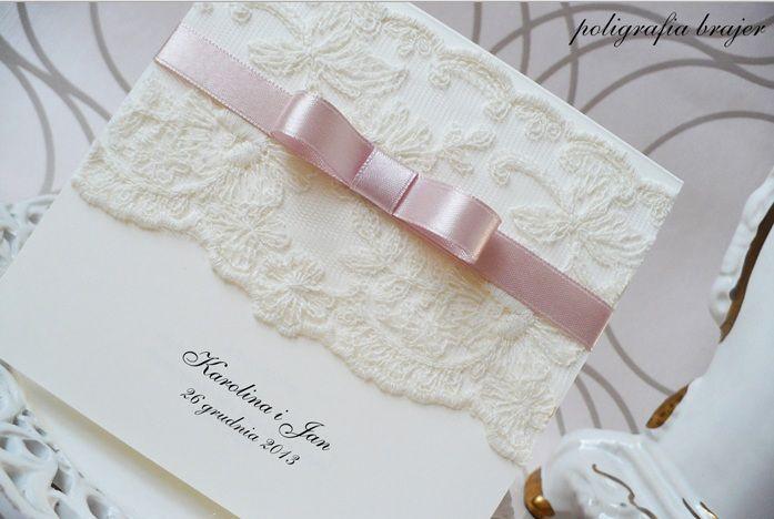 Zaproszenia ślubne Koronkowe Ręcznie Robione ślub Wedding