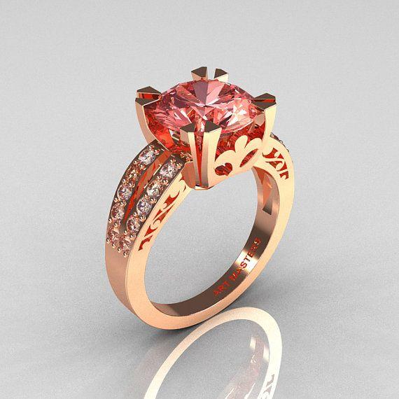 Modern Vintage 18K Rose Gold 3.0 Carat Morganite Diamond Solitaire Ring via Etsy.