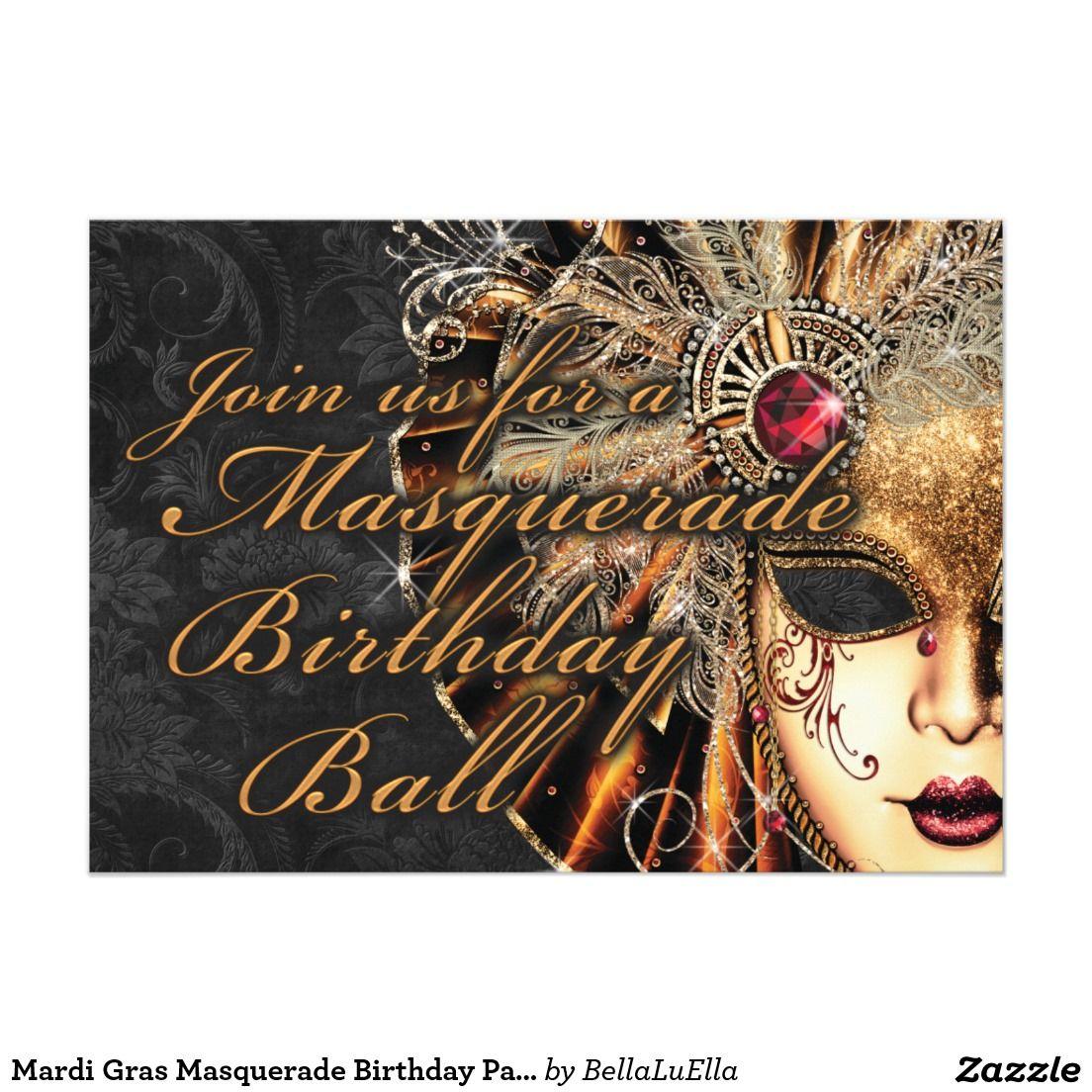 Mardi Gras Masquerade Birthday Party Invitation | Adult Birthday ...