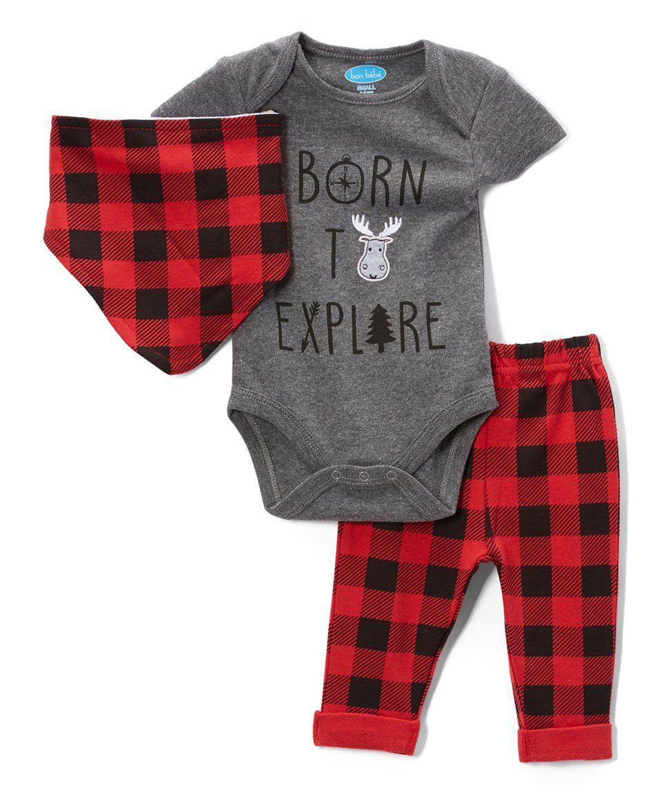 Take a look at this Gray 'Born to Explore' Bodysuit Set - Newborn & Infant today!