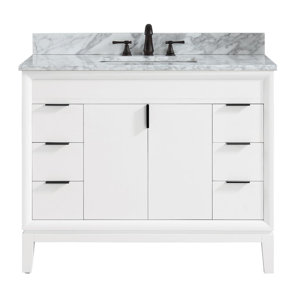 Avanity Emma 43 In W X 22 In D X 35 In H Bath Vanity In White With Marble Vanity Top In Carrara White With Basin Emma Vs43 Wt C The Home Depot In