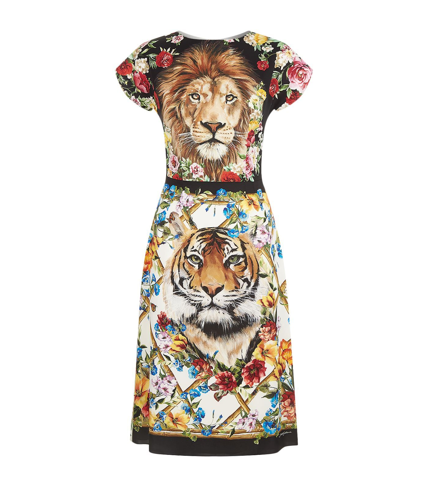 81f860c49 Shop the Dolce & Gabbana Floral and Lion Print Pencil Dress at Harrods.  Shop online at harrods.com & earn reward points.