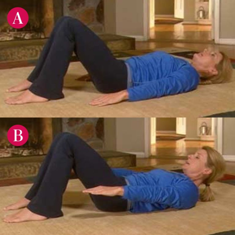 Step A: Lie on your back with your knees bent, feet flat on the ground and arms at your sides, as shown. Take a deep breath and pull your stomach muscles in. Step B: As you exhale, slowly lift your neck and head off the floor, extending your arms on either side of your legs, as shown. Be sure to keep your stomach muscles pulled in. Hold for two beats, then take another deep breath and slowly lower yourself as you exhale.