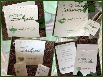 Kreative Hochzeitseinladung: Herzige Hochzeitskarten In Creme Und Grün