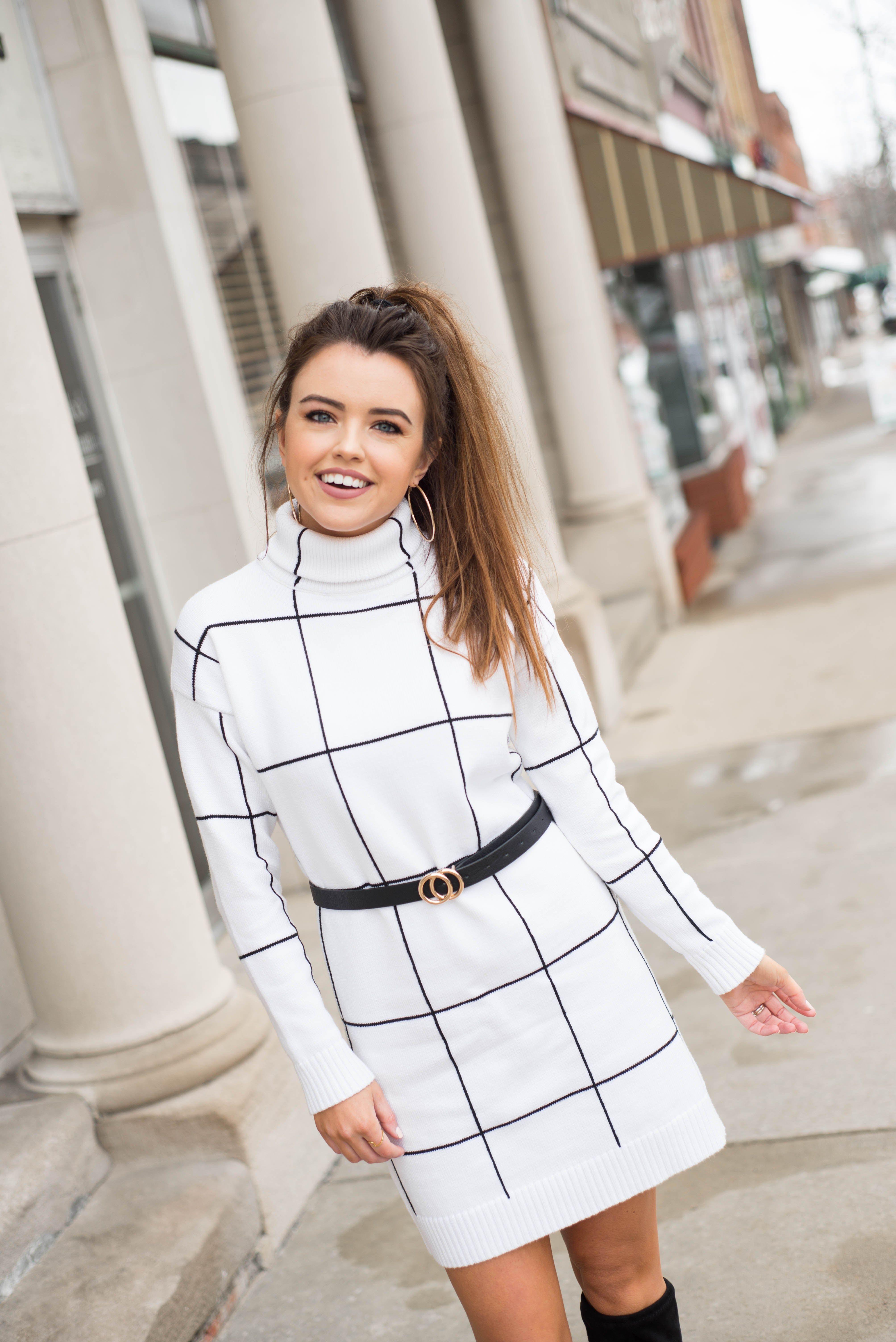 Classic White Grid Sweater Dress Sweater dress