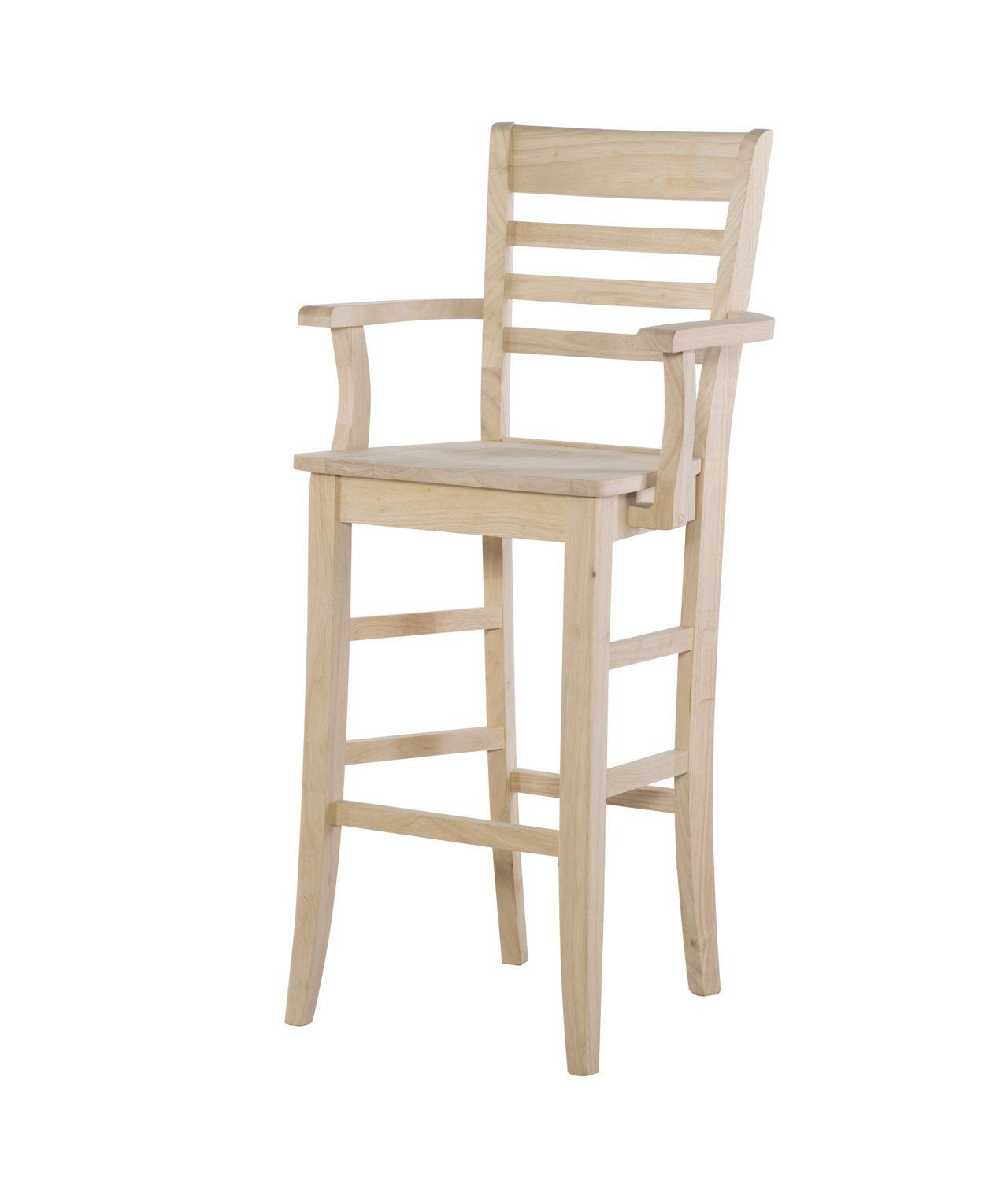 Roma Ladderback Hardwood Bar Height Stool With Arms Unfinished