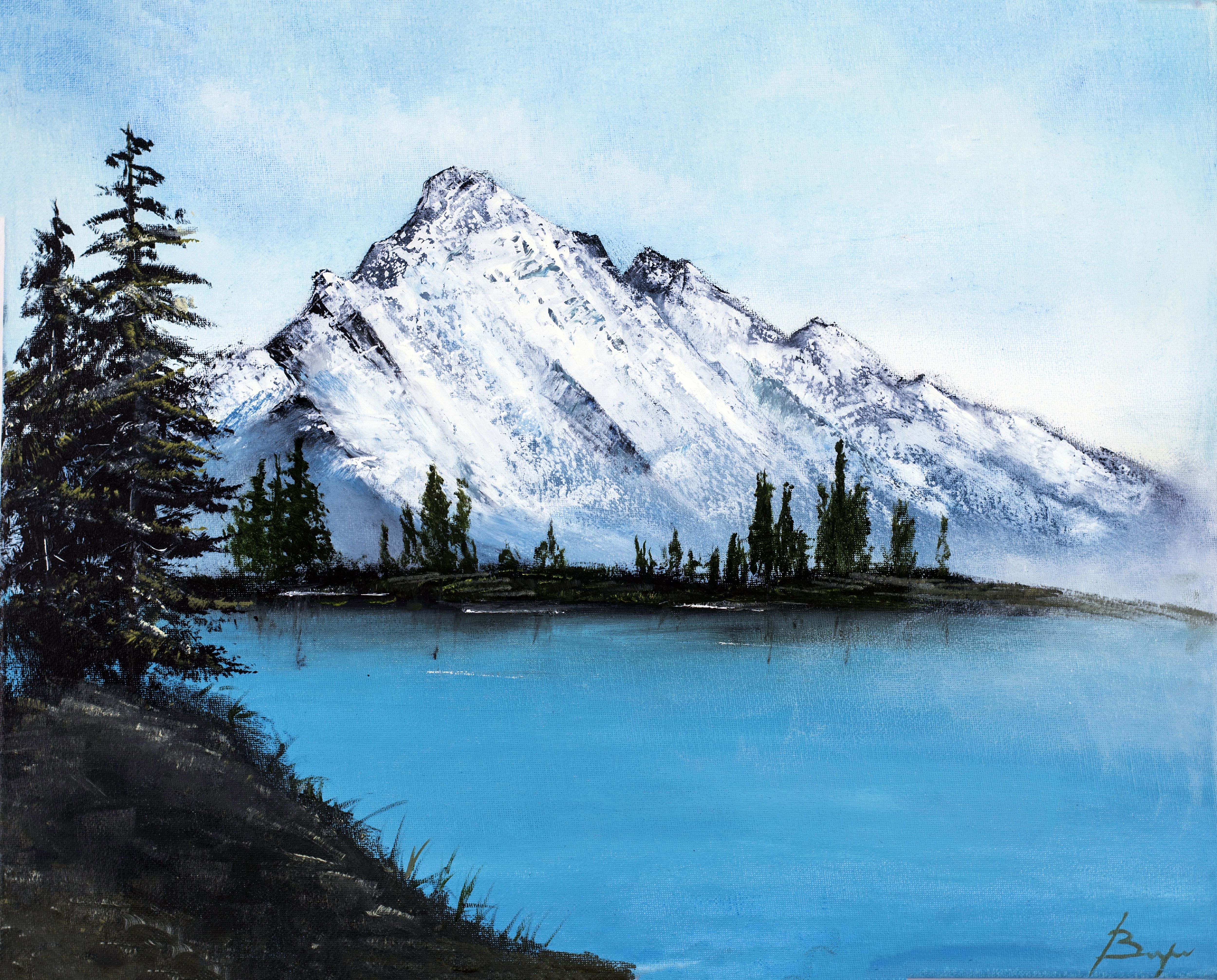 Mountains Have Always Been An Inspiration Of Mine This Painting Immediately Attracts Attention To I Lake Landscape Beautiful Oil Paintings Landscape Paintings